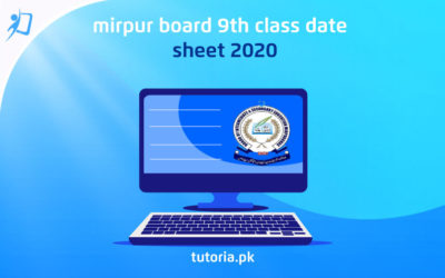 AJK Mirpur Board 9th Class Date sheet 2020
